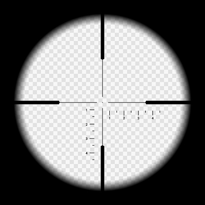 Realistic illustration looking through sniper crosshair with measuring numbers and markers. Optical sight rifle on transparent background - vector