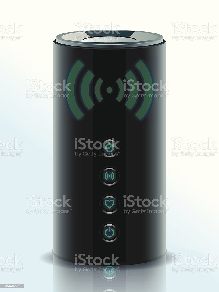 Realistic illustration of a 3D Wireless Home Router vector art illustration