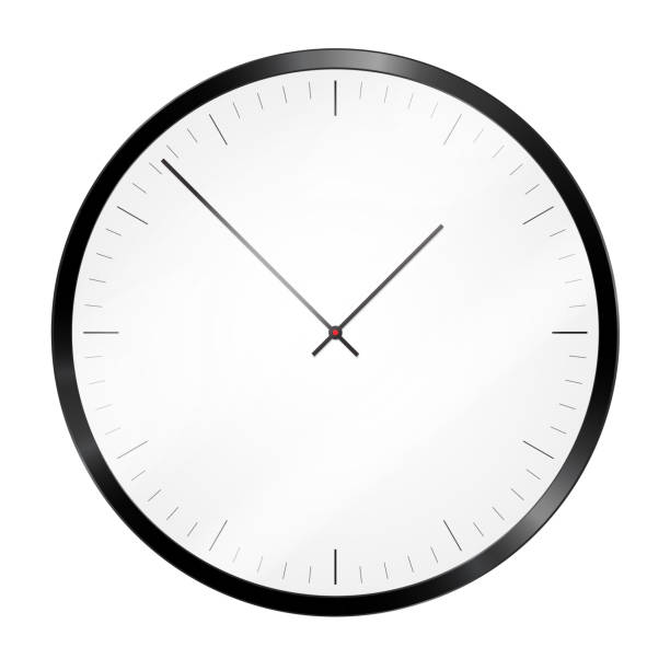 Realistic illustration of a black metallic wall clock or a wristwatch with a dial and reflections on glass - vector Realistic illustration of a black metallic wall clock or a wristwatch with a dial and reflections on glass - vector wall clock stock illustrations