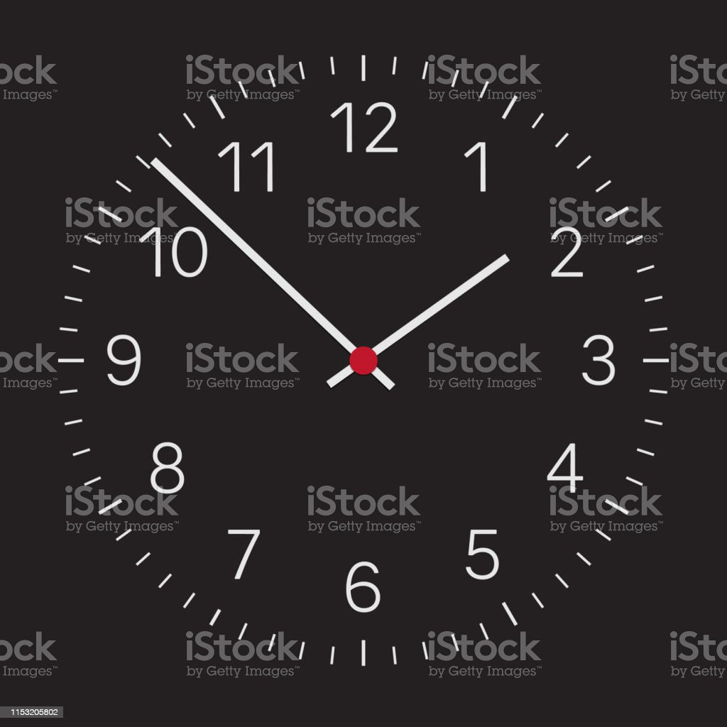 Realistic illustration of a dark clock face with silver numbers and a...
