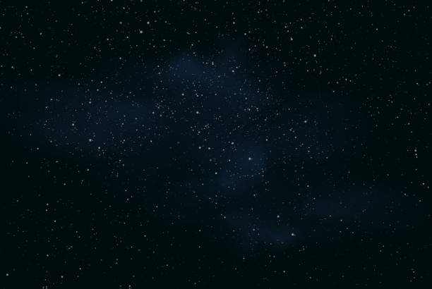 realistic illustration of a dark night sky or space with stars and nebula - vector - космос и астрономия stock illustrations