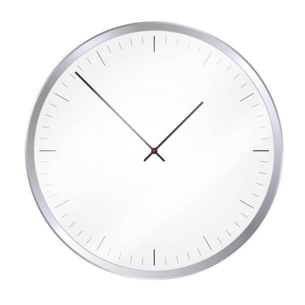 ilustraciones, imágenes clip art, dibujos animados e iconos de stock de ilustración realista de un reloj de pared metálico o un reloj con un dial y reflexiones en el vidrio - vector - wall clock