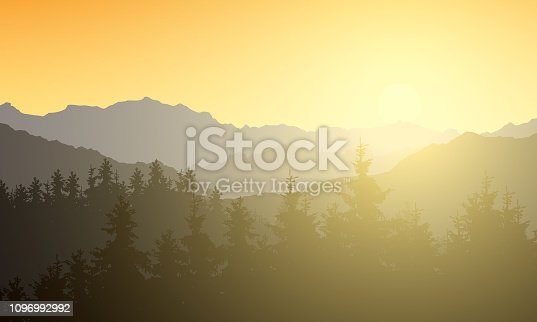 Realistic illustration of a mountain landscape with a forest. Sun shining with sunshine and rays under the morning yellow orange sky - vector