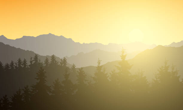 ilustrações de stock, clip art, desenhos animados e ícones de realistic illustration of a mountain landscape with a forest. sun shining with sunshine and rays under the morning yellow orange sky - vector - manhã