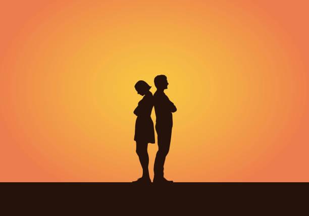 illustrazioni stock, clip art, cartoni animati e icone di tendenza di realistic illustration of a silhouette of a couple of young people, men and women after a quarrel or disagreement. isolated on an orange background - vector - divorzio