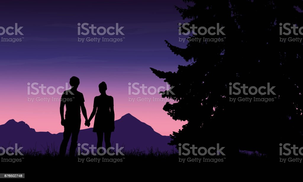 Realistic illustration of a silhouette of a loved man and woman on a romantic stroll through a mountain landscape with trees under a blue sky with dawn - vector Realistic illustration of a silhouette of a loved man and woman on a romantic stroll through a mountain landscape with trees under a blue sky with dawn - vector Abstract stock vector