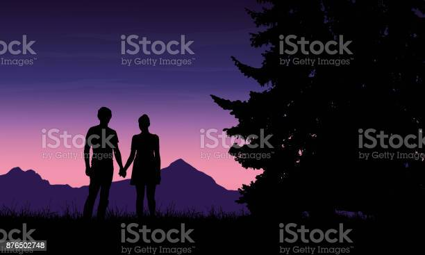 Realistic Illustration Of A Silhouette Of A Loved Man And Woman On A Romantic Stroll Through A Mountain Landscape With Trees Under A Blue Sky With Dawn Vector Stock Illustration - Download Image Now