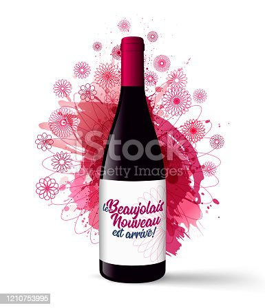 "istock Realistic illustration of a wine bottle with the text in French ""le Beaujolais Nouveau est arrivé"", the new Beaujolais has arrived. 1210753995"
