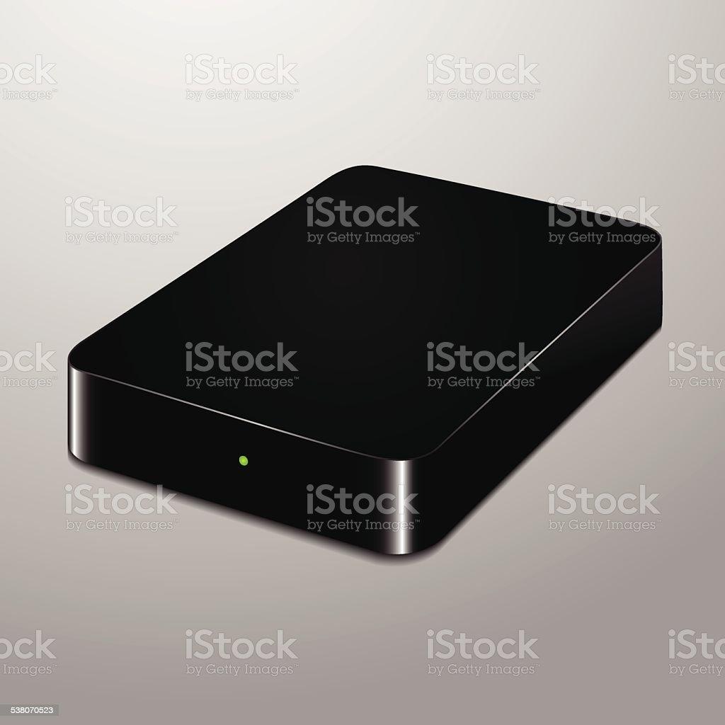 Realistic illustration of an external hard drive vector art illustration