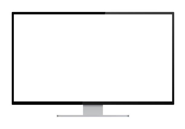 realistic illustration of black computer monitor with silver stand and blank white isolated screen with space for your text or image - isolated vector on white background - monitor komputerowy stock illustrations
