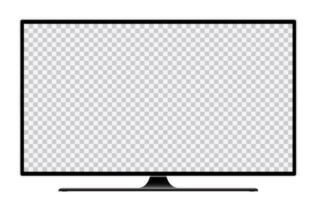 Realistic illustration of black TV with stand and blank transparent isolated screen with space for your text or image - vector Realistic illustration of black TV with stand and blank white isolated screen with space for your text or image - vector television set stock illustrations