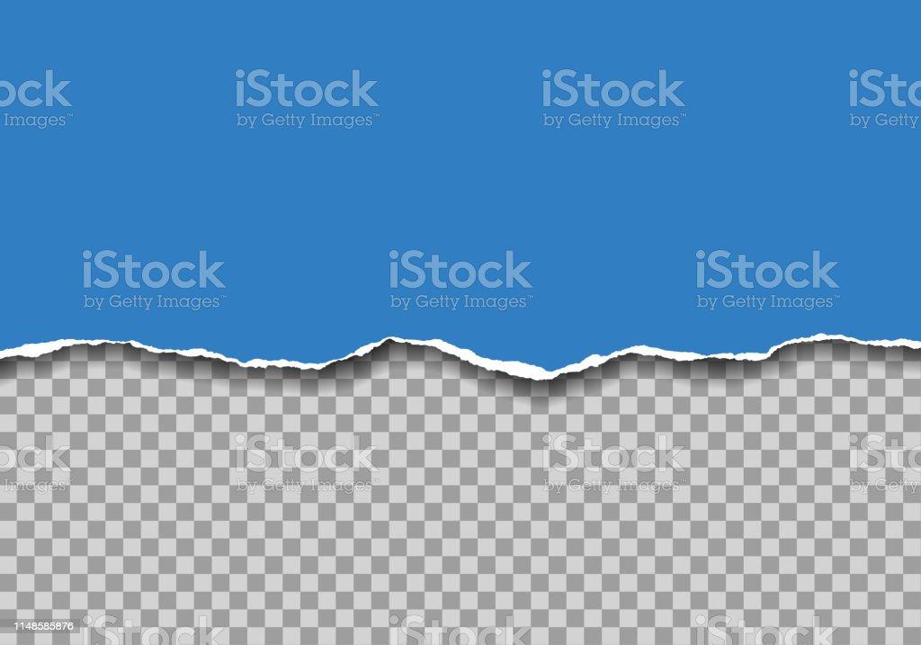 Illustration réaliste de papier déchiré bleu avec l'espace pour le texte isolé sur le fond transparent-vecteur - clipart vectoriel de Abstrait libre de droits