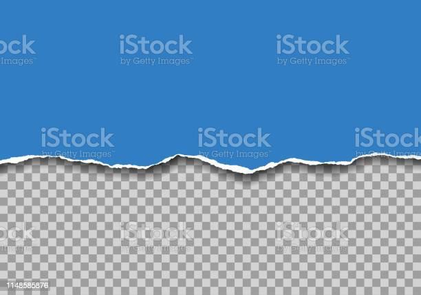Illustration Réaliste De Papier Déchiré Bleu Avec Lespace Pour Le Texte Isolé Sur Le Fond Transparentvecteur Vecteurs libres de droits et plus d'images vectorielles de Abstrait