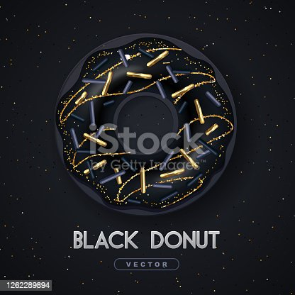 istock Realistic illustration of isolated black sweet donut with golden sugar sprinkle on black background. Vector 1262289894
