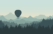 Realistic illustration of landscape with coniferous forest with pine trees under morning green sky. Flying hot air balloon. With space for your text - vector
