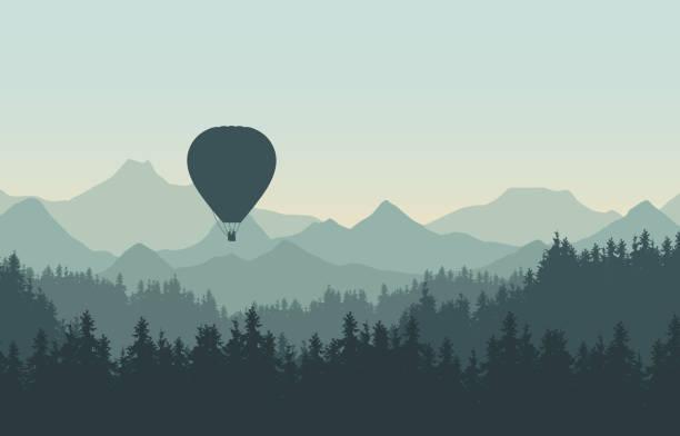 bildbanksillustrationer, clip art samt tecknat material och ikoner med realistisk illustration av landskap med barrskog med tallar under morgon grön himmel. flygande varm lufts ballong. med plats för din text-vektor - forest