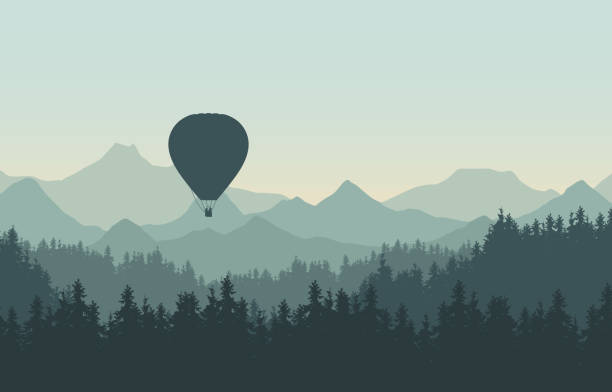 Realistic illustration of landscape with coniferous forest with pine trees under morning green sky. Flying hot air balloon. With space for your text - vector Realistic illustration of landscape with coniferous forest with pine trees under morning green sky. Flying hot air balloon. With space for your text - vector hot air balloon stock illustrations