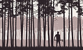 Realistic illustration of landscape with coniferous forest with pine trees under retro sky. Man with ax or lumberjack stands in grass - vector