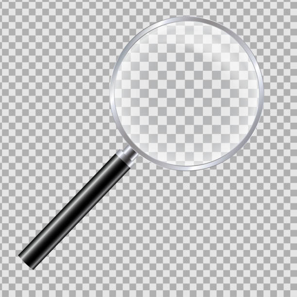 ilustrações de stock, clip art, desenhos animados e ícones de realistic illustration of magnifying glass with reflection and black handle. isolated on a transparent background - vector - lupa