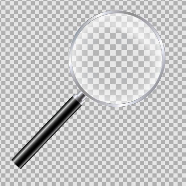 realistische illustration der lupe mit reflexion und schwarzem griff. isoliert auf einem transparenten hintergrund-vektor - lupe stock-grafiken, -clipart, -cartoons und -symbole