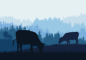 Realistic illustration of mountain farm landscape with forest, pasture and grazing cows under blue sky - vector