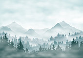 Realistic illustration of mountain landscape silhouettes with forest and coniferous trees. Fog haze or clouds under green-blue sky - vector