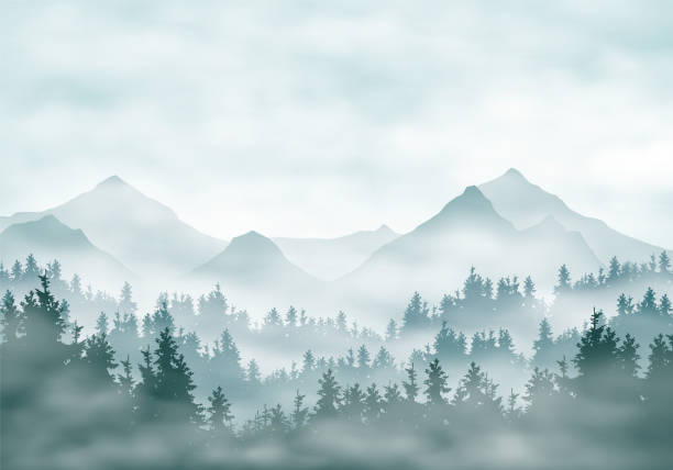Realistic illustration of mountain landscape silhouettes with forest and coniferous trees. Fog haze or clouds under green-blue sky - vector Realistic illustration of mountain landscape silhouettes with forest and coniferous trees. Fog haze or clouds under green-blue sky - vector wilderness stock illustrations