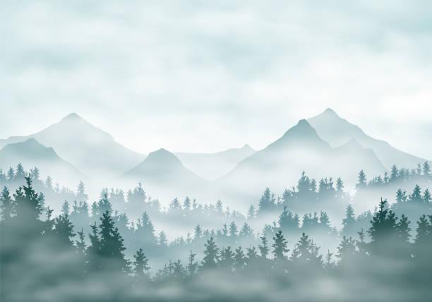bildbanksillustrationer, clip art samt tecknat material och ikoner med realistisk illustration av bergs landskap silhuetter med skog och barr träd. dimma haze eller moln under grön-blå himmel-vektor - vildmark