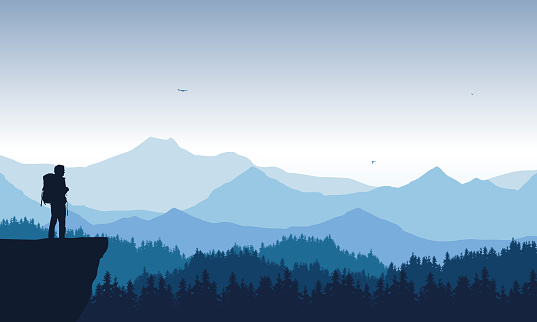 realistic illustration of mountain landscape with coniferous forest under blue sky with flying birds. Lonely hiker standing on top and looking into valley. - vector