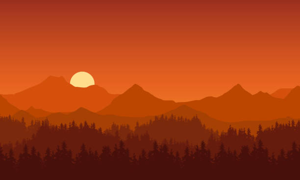 Realistic illustration of mountain landscape with coniferous forest under red morning or evening sky with orange rising or setting sun and space for text - vector Realistic illustration of mountain landscape with coniferous forest under red morning or evening sky with orange rising or setting sun and space for text - vector adventure backgrounds stock illustrations