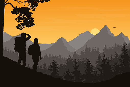Realistic illustration of mountain landscape with forest and two tourists, man and woman. Morning orange sky with rising sun, clouds and flying bird - vector