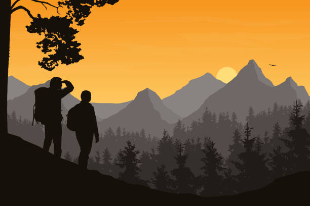 Realistic illustration of mountain landscape with forest and two tourists, man and woman. Morning orange sky with rising sun, clouds and flying bird - vector Realistic illustration of mountain landscape with forest and two tourists, man and woman. Morning orange sky with rising sun, clouds and flying bird - vector autumn silhouettes stock illustrations