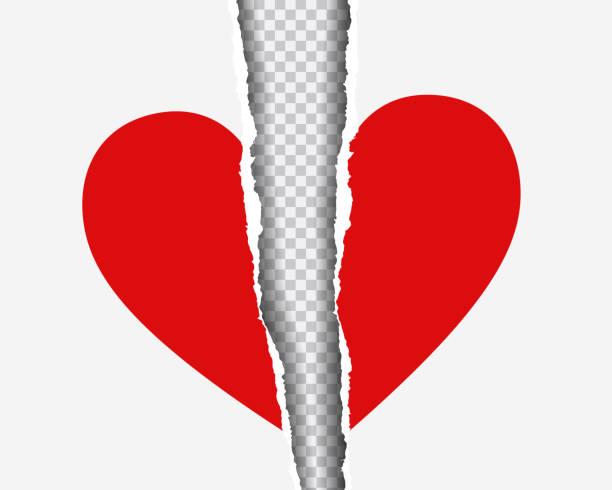 stockillustraties, clipart, cartoons en iconen met realistische afbeelding van rode gescheurde hart op papier met schaduw, geïsoleerd op transparante achtergrond - vector - liefdesverdriet