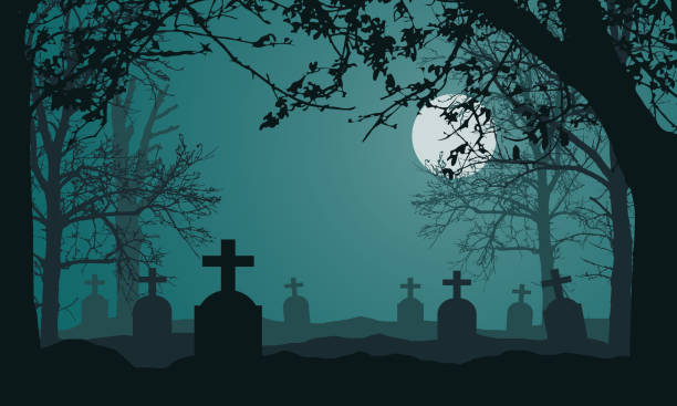 132 Drawing Of Spooky Graveyard Scene Scary Trees Illustrations Royalty Free Vector Graphics Clip Art Istock