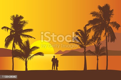 istock Realistic illustration of sunset over sea or ocean with beach and palm trees. Two people standing together on the beach looking at the water. Orange sky and space for text - vector 1133438382