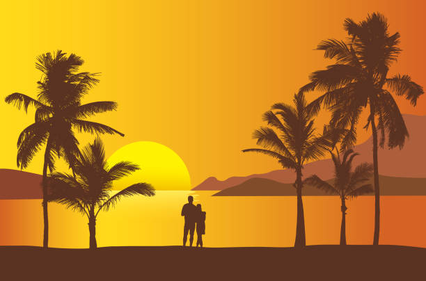Realistic illustration of sunset over sea or ocean with beach and palm trees. Two people standing together on the beach looking at the water. Orange sky and space for text - vector Realistic illustration of sunset over sea or ocean with beach and palm trees. Two people standing together on the beach looking at the water. Orange sky and space for text - vector haiti stock illustrations