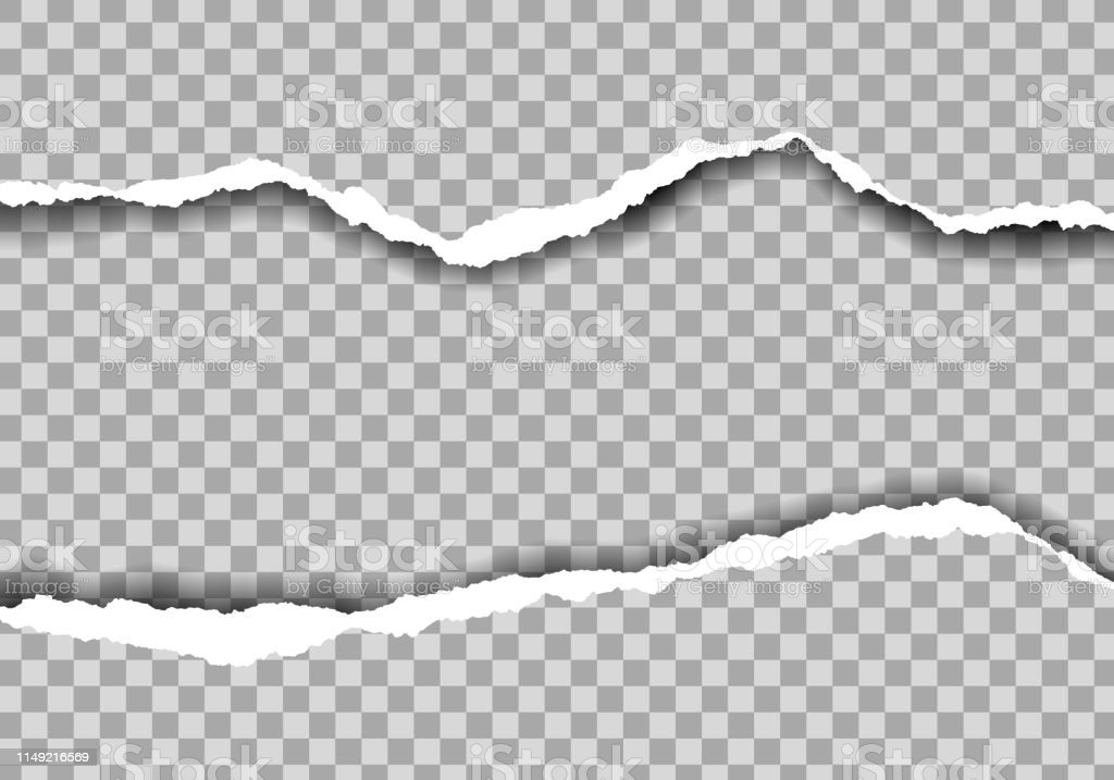 Metin alanı ile yırtık kağıt gerçekçi Illustration. Şeffaf arka plan üzerinde izole-vektör - Royalty-free Arka planlar Vector Art