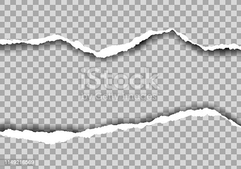 Realistic illustration of torn paper with space for text. Isolated on transparent background - vector