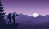 realistic illustration of two tourist, man and woman with backpack, mountain landscape with coniferous forest under purple sky with flying birds - vector