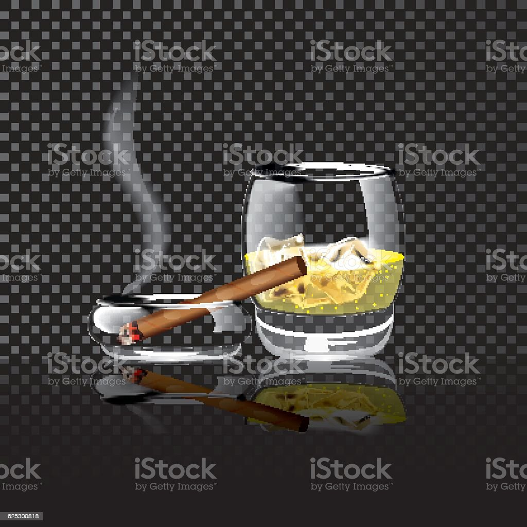 Realistic illustration of whiskey ice cigar on a transparent background. vector art illustration