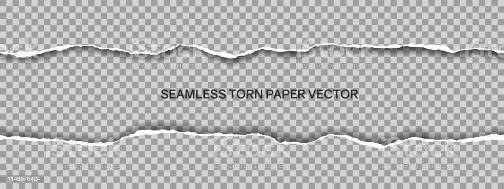 Illustration réaliste de papier déchiré large sans soudure avec l'espace pour le texte isolé sur le fond transparent-vecteur - clipart vectoriel de Abstrait libre de droits