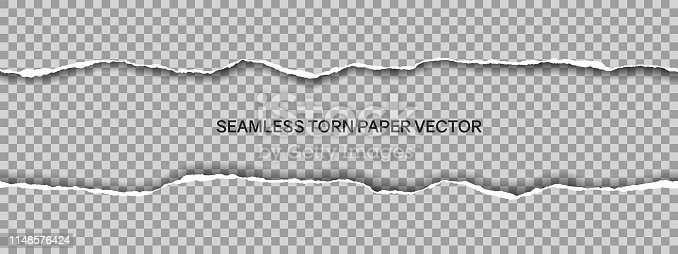 istock Realistic illustration of wide seamless torn paper with space for text isolated on transparent background - vector 1148576424