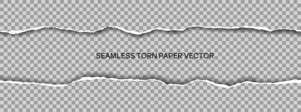 Realistic illustration of wide seamless torn paper with space for text isolated on transparent background - vector Realistic illustration of wide seamless torn paper with space for text isolated on transparent background - vector カラフル stock illustrations