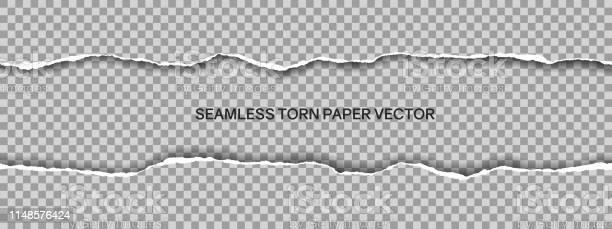 Illustration Réaliste De Papier Déchiré Large Sans Soudure Avec Lespace Pour Le Texte Isolé Sur Le Fond Transparentvecteur Vecteurs libres de droits et plus d'images vectorielles de Abstrait