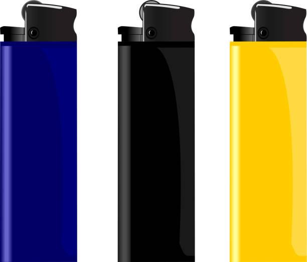 realistische darstellung drei farbige leichter - feuerzeuggas stock-grafiken, -clipart, -cartoons und -symbole