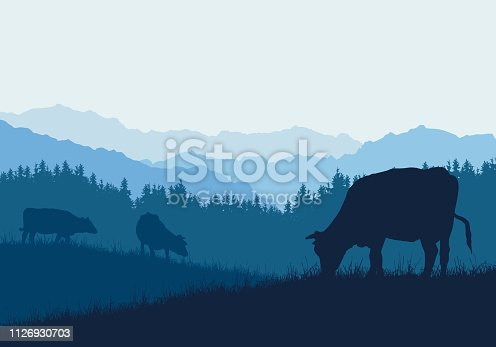 Realistic illustration with three silhouettes of cows on pasture, grass and forest, under blue sky - vector