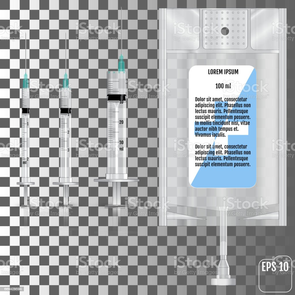 Realistic Intravenous fluid and syringes. Vector illustration vector art illustration