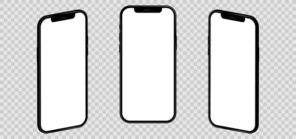 Realistic iphone 12. Mockup empty screen, isolated on transparent background. Vector illustration EPS 10 vector art illustration