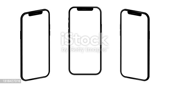 istock Realistic iphone 12. Mockup empty screen, isolated on transparent background. Vector illustration EPS 10 1316427016
