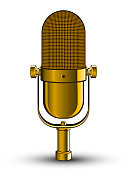 Realistic isolated image of golden microphone
